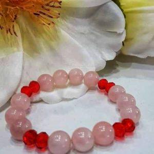 Pulsera piedra natural rosa y roja