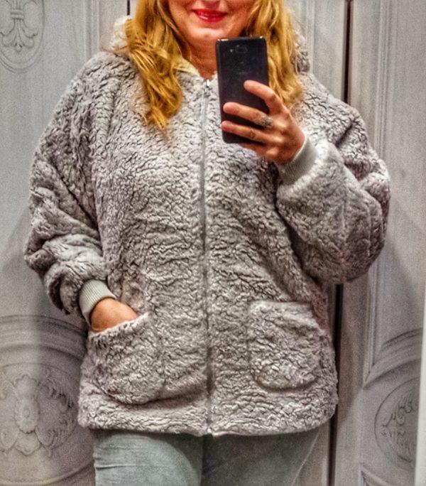 Abrigo borreguito gris claro